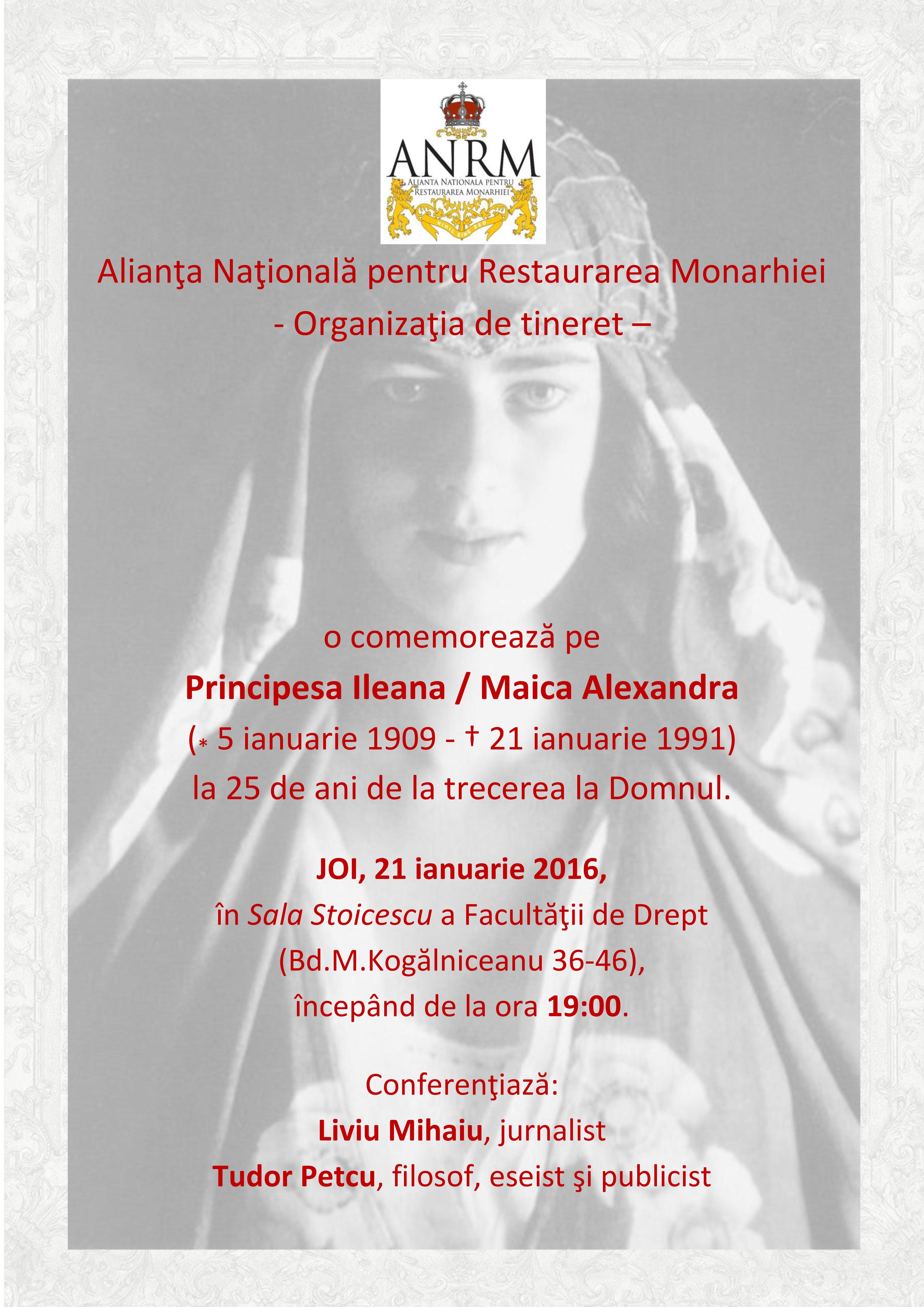 Invitaţie 21 ianuarie 2016 Principesa Ileana