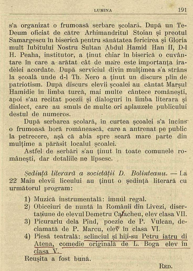 5 Lumina - iunie 1906